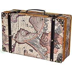 Vintiquewise antiguo mapa del mundo maleta, envejecido Lite marrón