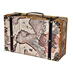 vintiquewise Old World Map Koffer, antik Lite braun