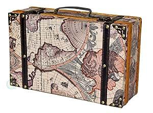 Vintiquewise cartina del mondo antico della valigia, colore: marrone antico, Lite