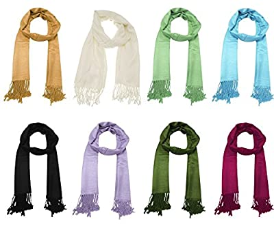 URBAN-TRENDZ Latest Collection of Satin Pashmina Scarf Stole Duppatta Shawl with twisted fringes in Superfine Quality (Summer Colours) UT2327