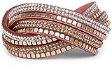 styleBREAKER Weiches Wickelarmband mit Strass und glänzenden Nieten, Armband, 4x1-Reihig, Damen Schmuck 05040022, Farbe:Altrose