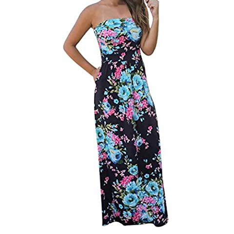 Goodsatar Womens Off Shoulder Long Dress Summer Floral Maxi Dress (XL, Blue)