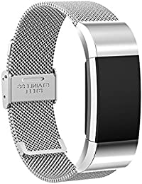 Floridivy Stainless Steel Wristband Mesh Smart Strap Net Replacement Blacelet Chain Watch Belt for Fitbit charge 2 Silver