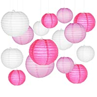 """Paper Lanterns, SMALUCK 15 Packs 6"""" 8"""" 10"""" Chinese Round Lantern Paper Hanging Decorations with Assorted Colors and Sizes for Birthday Bridal Wedding Baby Shower Festival Party Decorations"""