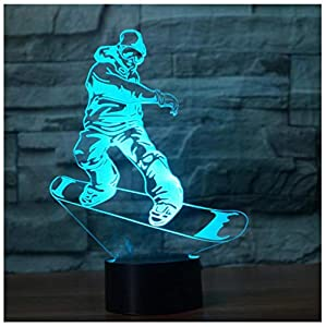 Phantasie Snowboard Modellierung 3D Visuelle Nachtlicht Led 7 Colortable...