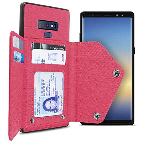 CoverON Schutzhülle für Samsung Galaxy Note 9, mit Kreditkartenfächern, aus Stoff, für Samsung Galaxy Note 9, hot pink - Stoff Sprint