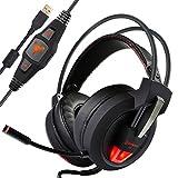ieGeek V9 7.1 Surround Sound Stereo Gaming Headset,USB Vibration Over-Ear-Kopfhörer Noise Canceling Isolieren mit Breathing LED-Leuchten Einziehbaren Eingebautes Mikrofon Volume Control Verstärktes 2.5Meter Kabel für PC/Laptop (Schwarz Rot)