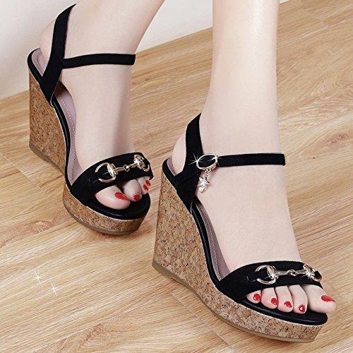 GTVERNH-estate nera 7.5cm cuneo sandali donne slim impermeabile scarpe con una suola spessa scarpe col tacco alto una brutta bocca di pesce,35 Thirty-nine