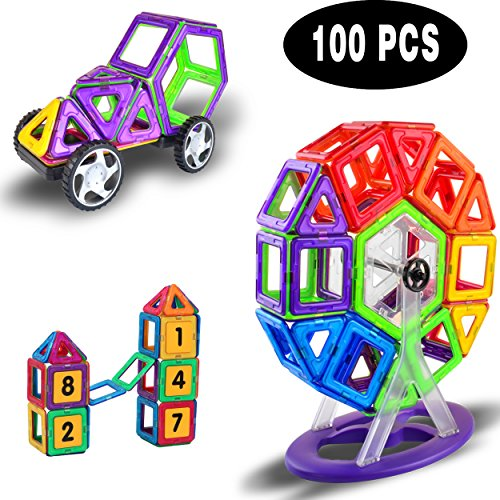 100 Pcs Large Magnetic Building Blocks Set with Cart wheels & Ferris wheel set , Velocity Bee Kids Magnet Toys Construction Stacking kits, Building Tiles Shapes for Creativity Educational, Comes with Drawstring Bag
