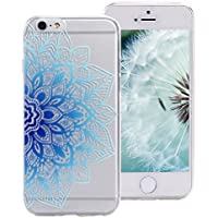 iPhone 6S Hülle Blumen, ZXK CO Transparent Halb Blauen Mandala Blüten Muster Transparent Ultra Dünne TPU Silikon Handy Hülle Etui Kratzfeste Stoßfeste Case Cover für Apple iPhone 6/6S 4,7 Zoll