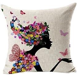 bestyou Flores Fundas de almohada Lino Algodón impreso de Vintage Cojín de sofá almohada