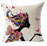 GONO M-G-X Funda de almohada funda de almohada sofá almohada lienzo de algodón de impresión (sin almohada) (A)