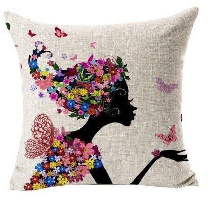Bestyou Blumenkissenbezüge Weihnachten Geschenk Leinen Baumwolle gedruckt Von Vintage Sofa-Kissen Kopfkissenbezug Schmetterlings-Mädchen