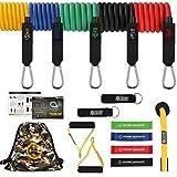 POWER GUIDANCE Resistance Bands Set Stretch Training Set s cvičebnými pásmi 5, odporovými kruhmi, úchytkami, dvernými kotvami, kotníkovými pásmi a taškou na prenášanie