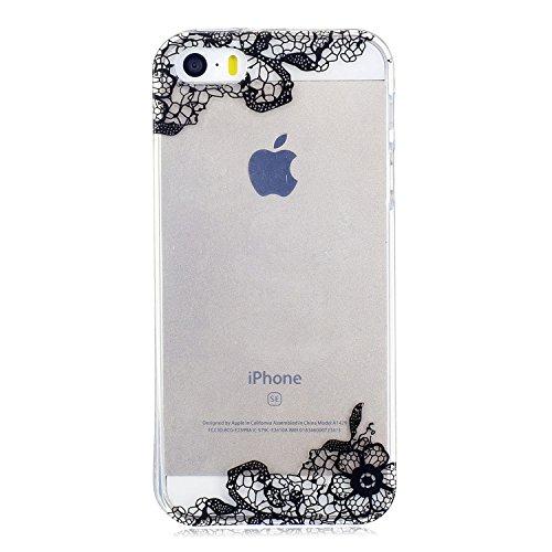 iPhone 5S / iPhone SE Hülle, Voguecase Silikon Schutzhülle / Case / Cover / Hülle / TPU Gel Skin für Apple iPhone 5 5G 5S SE(Ice Cream 03) + Gratis Universal Eingabestift Schwarz Lace Blume