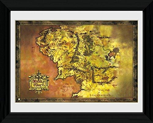 1art1 90604 Der Herr Der Ringe - Landkarte Von Mittelerde Gerahmtes Poster Für Fans Und Sammler 40 x 30 cm - Gerahmte Der Herr Ringe Poster