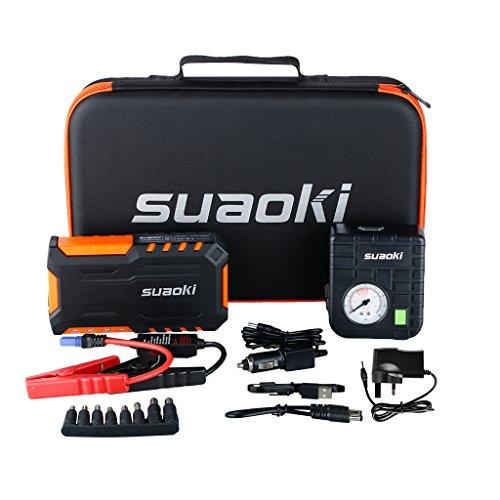 Suaoki Jump Starter G7 PLUS Avviatore di Emergenza Auto 18000mAh 600A Compressore Portatile in Dotazione Adatta per Motore fino a Benzina 5L o Diesel 3,5L Torcia LED Incorporata, come Caricabatteria per Cellulare Tablet, Arancione