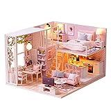 Decdeal Kit DIY Dollhouse Maisons de Poupées Miniatures, Mini Maison en Bois Cadeau pour Filles (Type 6)
