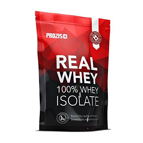 Prozis 100% real whey protein isolate powder 1kg - al gusto fragola per la perdita di peso, recupero muscolare e culturismo - facile da digerire, basso contenuto di carboidrati - 40 porzioni