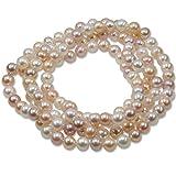 Damen Perlenkette mit Süßwasser-Perlen weiß aprikot creme 90 cm lang Endlos-Halskette