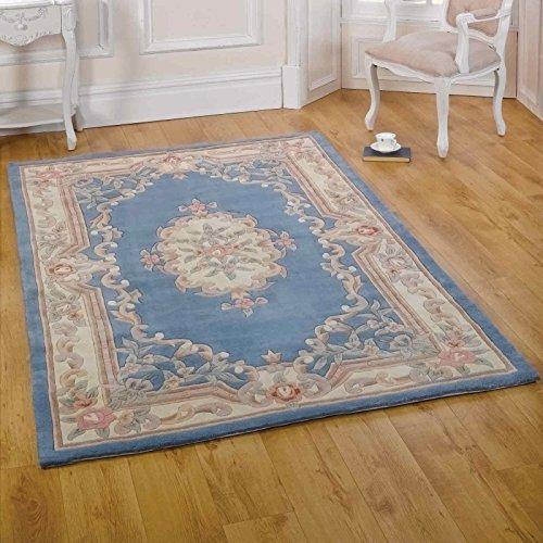 Modern Style Rugs Chinesischer Teppich - 510 Aubusson in Blau - 100% Wolle, 150x240cm (8'0 x 5'0), Blau (Teppich Chinesische)