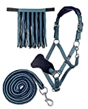 HKM Sports Equipment HKM Halfter mit Strick Karabiner & Fliegenfransen, Petrol/Navy, Pony