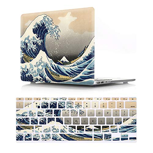 HRH Sea Waves Shell-Schutzhülle und passende Design-Tastaturabdeckung für MacBook Air 11 Zoll 11,6 Zoll (Modelle: A1370 und A1465)