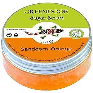 Greendoor Sugar Scrub Sanddorn Orange, Zucker Peeling ohne Kunststoff, 230g aus der Naturkosmetik Manufaktur