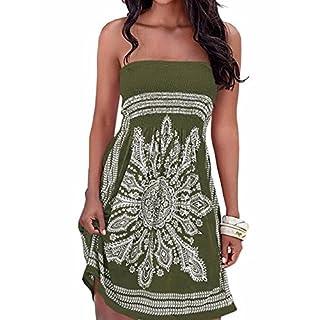 EMMA Women's Summer Strapless Off Shoulder Floral Print Bohemian Skirt Casual Colorful Mini Beach Dresses(AG,L)