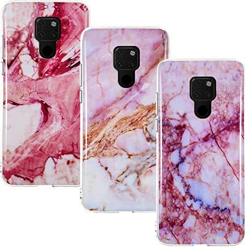 CLM-Tech Hülle 3X kompatibel mit Huawei Mate 20, TPU Silikon-Hülle Case Schutzhülle Handyhülle 3er Set, Marmor pink lila Mehrfarbig