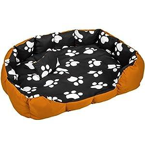 TecTake Lit douillet pour chiens panier corbeille couchage XXL brun/noir
