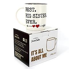 Idea Regalo - Gifffted Tazza Da Tè E Caffe Per Una Grande Sorella Originale, Tazza Miglior Sorella Del Mondo, Idee Regalo Di Compleanno Per Migliore Sorella, Idee Regali Per Lei, Ceramica, 13 Ounce Mug