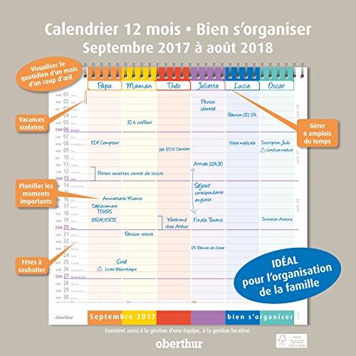 """Oberthur - Calendrier Planning Mural """"Bien s'organiser"""" - Septembre 2017 à Août 2018 - 30x30 cm"""