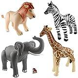 Aufblasbarer Elefant, Löwe, Giraffe und Zebra Safari-Dschungel-Motto-Party-Deko Aufblastiere mit Palandi® Sticker