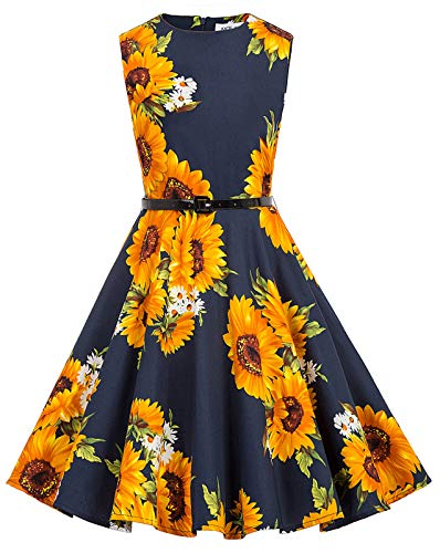 Kate Kasin Retro Maedchen Aermellos Sommer Kleid 11-12 Jahre KK250-30 Kinder-sommer-kleid
