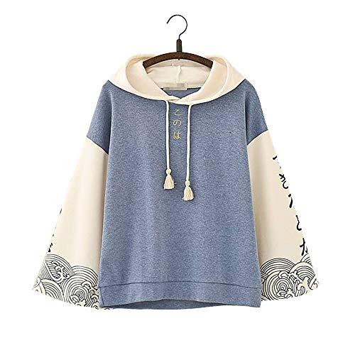 Vdual Einzigartige Mode Teen Girl komplizierten japanischen Text Print Design Zwei farbige Quaste warme Hoodie Jacke