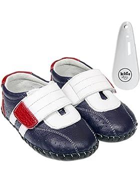 FREYCOO infantil Niños Real de piel suela suave zapatos de bebé–azul marino azul y blanco con borde rojo y velcro...