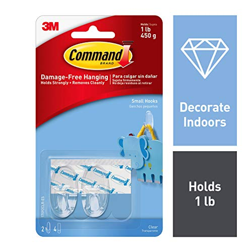 Command Small Plastic Hook (Clear, 6-Pieces) at amazon