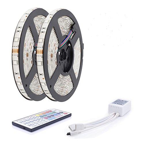 Preisvergleich Produktbild ALED LIGHT 10M (2 x 5m) Wasserdicht IP65 LED Streifen Leiste RGB 5M 5050 150 LED SMD (30 LED / Meter) RGB + 44 Tasten Fernbedienung + Empfänger + Produktbeschreibung LED Lampe