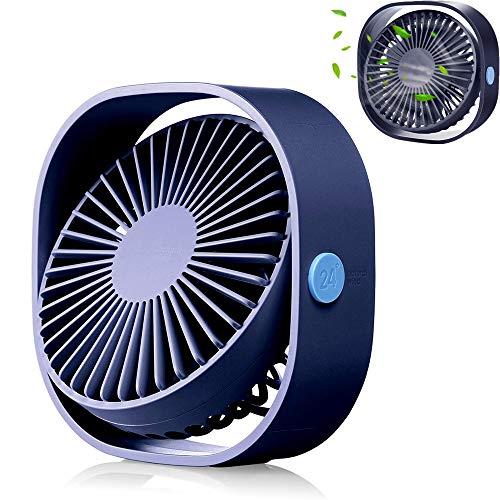 Kleiner persönlicher USB-Tischventilator, tragbarer Tischventilator mit 3 Geschwindigkeiten, mit Strom versorgt, leiser Betrieb, für das Büro zu Hause im Freien,Blue - Familie Licht Im Freien Wand