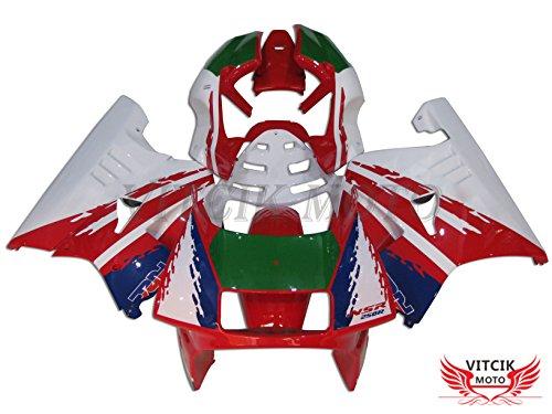 VITCIK (Verkleidungssets Passend für NSR250R MC21 SP P3 1990 1991 1992 1993 NSR250 R 90-93) ABS-Kunststoff-Spritzguss Motorrad-Komplett Motorrad-Karosserie Rahmen(Rot & Weiß) A002