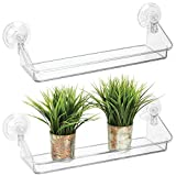 mDesign Juego de 2 estantes de pared - Práctica estantería flotante, ideal para colgarla en ventanas o espejos - Organizador de pared de plástico resistente - transparente