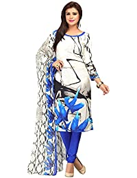 A K Designer Women's Chiffon Dress Material (Mehak9023_Free Size_White)