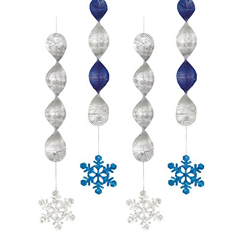 Tischdecke aus Kunststoff mit Schneeflocken Hängedekorationen mehrfarbig