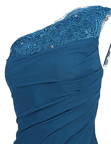 Dresstells Damen Kleider Lang Chiffon Abendkleider Ballkleider Ein-Träger Purpur