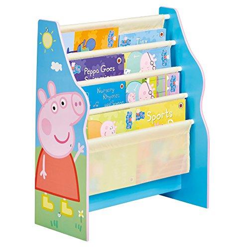 Peppa Pig - Bibliothèque à pochettes pour enfants - Rangement de livres pour chambre d'enfant