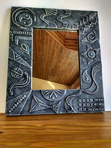 Espejo de pared decorativo de madera reciclada de palet hecho a mano