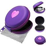 """Stylebitz / Etui """"coquillage"""" à deux tons pour Apple iPod nano 6ème Génération, fermeture éclair, poche intérieure, extérieur ultra-résistant, cœur, avec chiffon de nettoyage (violet)"""