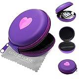 Stylebitz / Etui 'coquillage' à deux tons pour Apple iPod nano 6ème Génération, fermeture éclair, poche intérieure, extérieur ultra-résistant, cœur, avec chiffon de nettoyage (violet)
