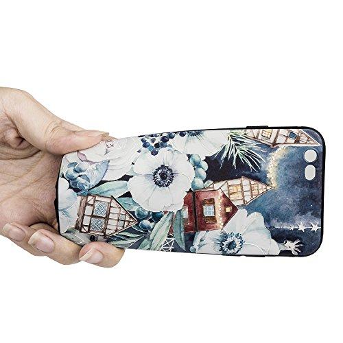 TPU Handyhülle für iPhone 6 6s Forepin® Ultra Slim Silikon Case mit Farbe Muester Design Weichem TPU Schutzhülle Bumper Case für Ihr iPhone 6 6s 4.7 Zoll Smartphone, Blumen und Häuser Blumen und Häuser